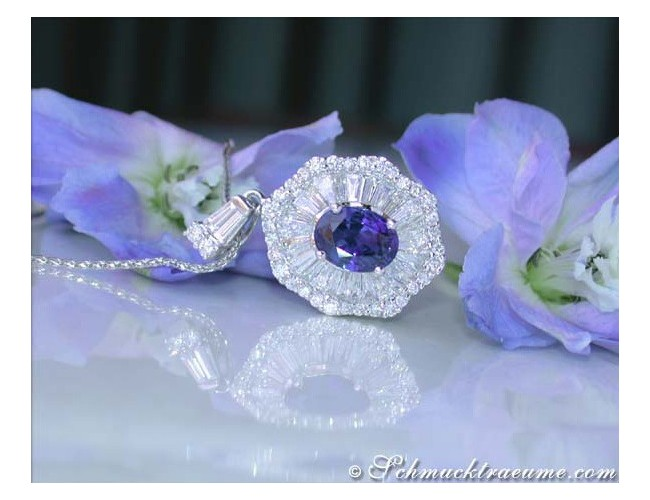 Terrific Ceylon Sapphire Pendant with Diamonds