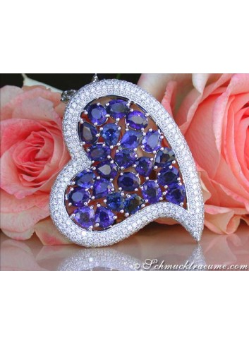 Luxurious Ceylon Sapphire Heart Pendant with Diamonds