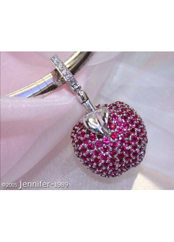 Fabulous Ruby Apple Pendant with Diamonds