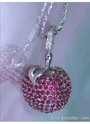 Fabulous Ruby Apple Pendant with Diamonds