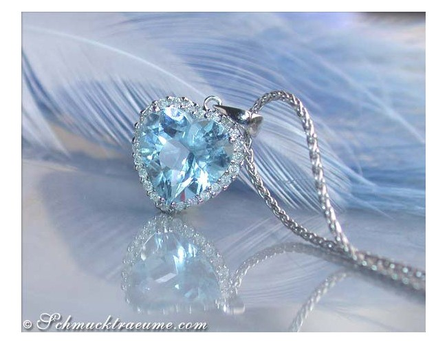 Delicate Aquamarine Heart Pendant with Diamonds