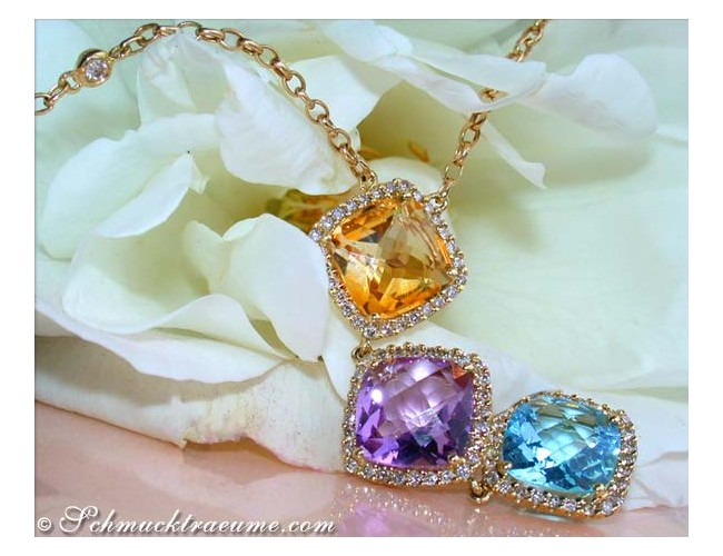Stunning Multicolor Gemstone Necklace with Diamonds