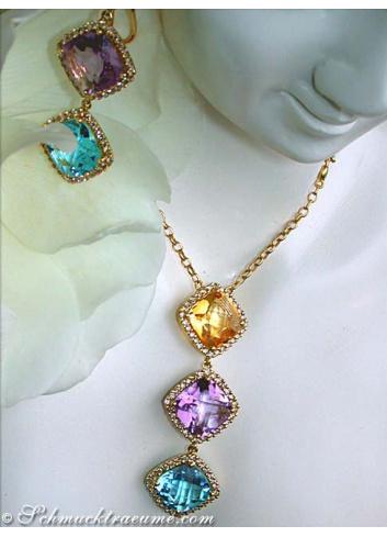 Multicolor Edelstein Halskette mit Diamanten