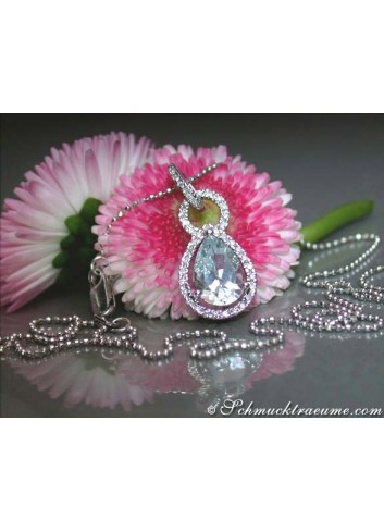 Delicate Aquamarine Teardrop Pendant with Diamonds