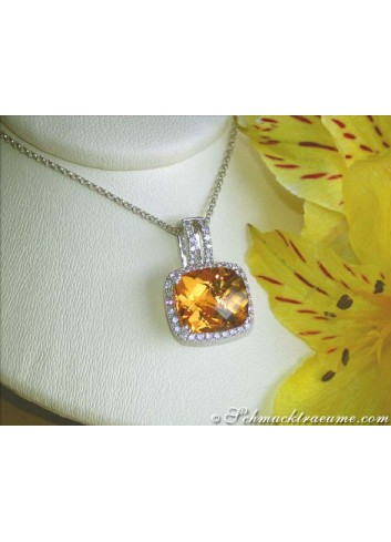 Picture Perfect Citrine Pendant with Diamonds incl. Chain