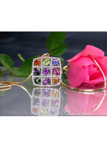 Fabulous Multicolor Gemstone Pendant with Diamonds