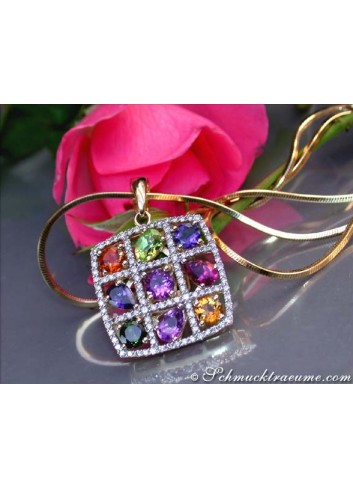 Fabulous Multicolor Gemstone Diamonds Pendant