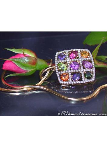 Fabulous Multicolor Gemstone Pendant with Diamonds