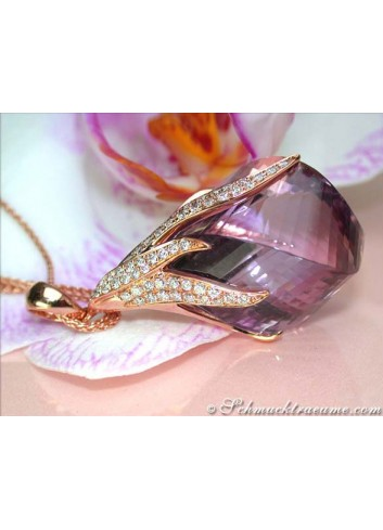 Tremendous Amethyst Pendant with Diamonds