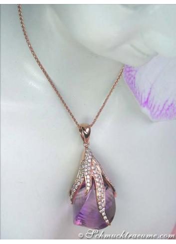 Tremendous Amethyst Pendant with Diamonds