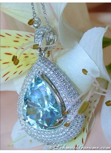 Huge Aquamarine Pear Pendant with Diamonds