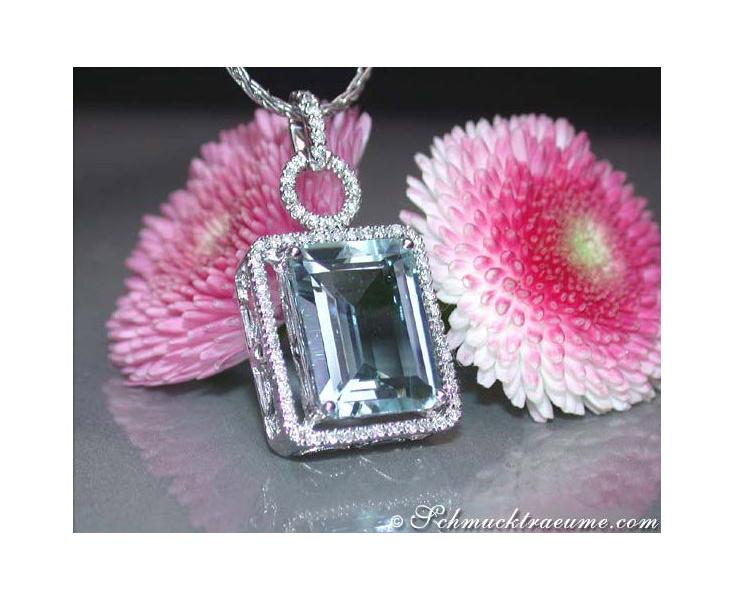 Huge Aquamarine Pendant with Diamonds