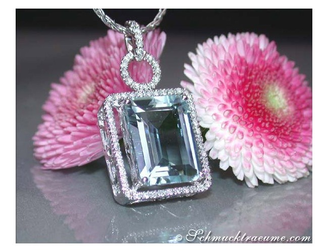 Huge Aquamarine Pendant with Diamonds