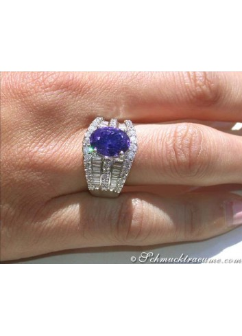 Tansanit Ring mit Brillanten & Diamanten