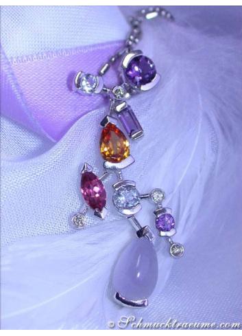 Magnificent Multicolor Gemstone Diamond Pendant