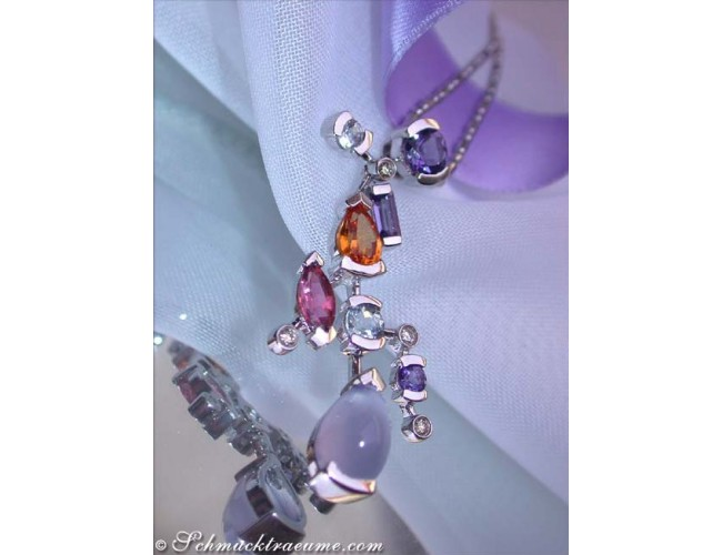 Magnificent Multicolor Gemstone Diamond Pendant