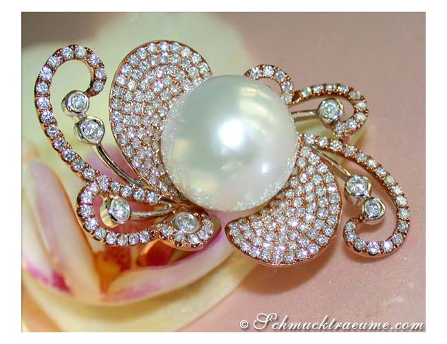 Fantastic Southsea Pearl Ring with Diamonds
