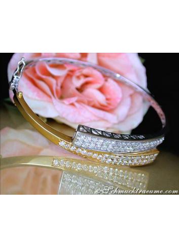 Diamanten Armreif in Gelbgold und Weißgold