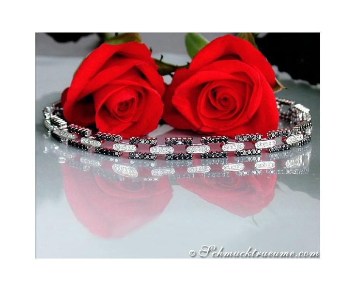 Schwarze Diamanten & Brillanten Armband