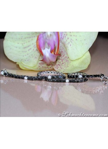 Tennis Armband mit Brillanten & schwarzen Diamanten