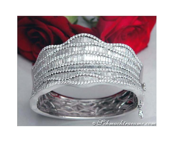 Opulenter Diamant Brillant Armreif in Weißgold 750