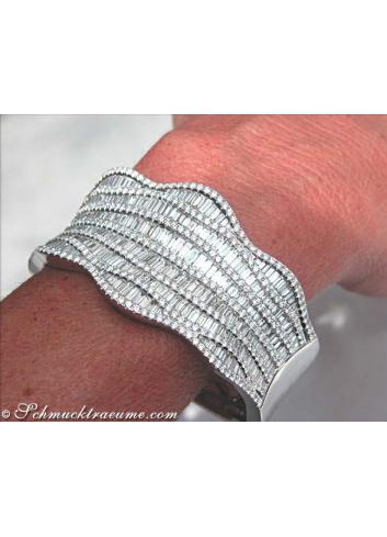 Opulenter Brillant Diamant Armreif in Weißgold 750