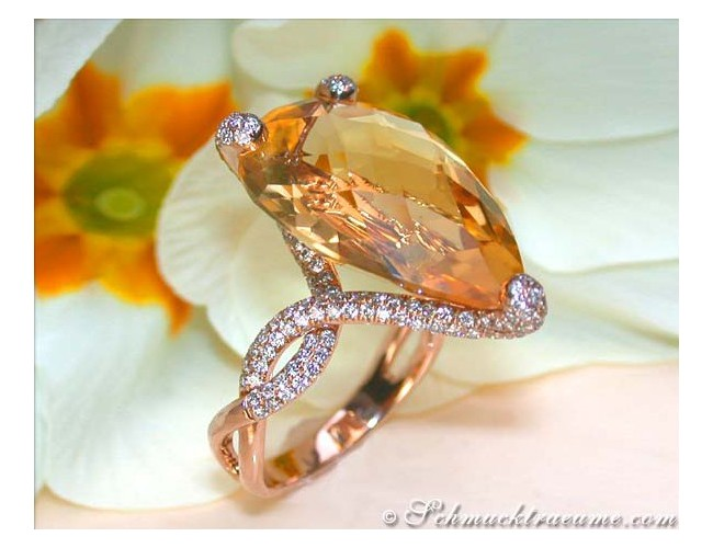 Glamorous Citrine Pear Ring with Diamonds