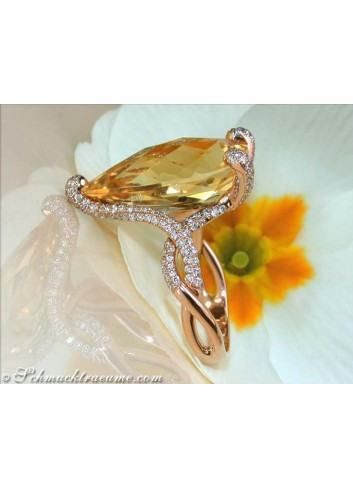Citrin Ring mit Brillanten