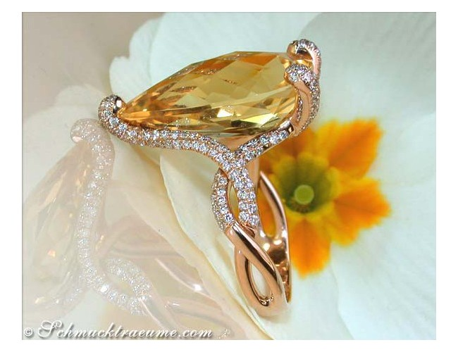 Glamorous Citrine Drop Diamond Ring