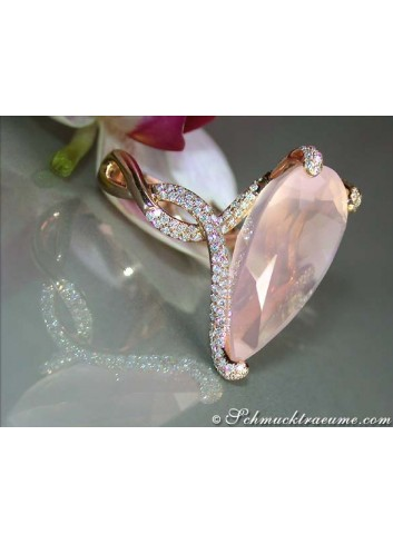 Exquisite Rose Quartz Pear Ring With Diamonds