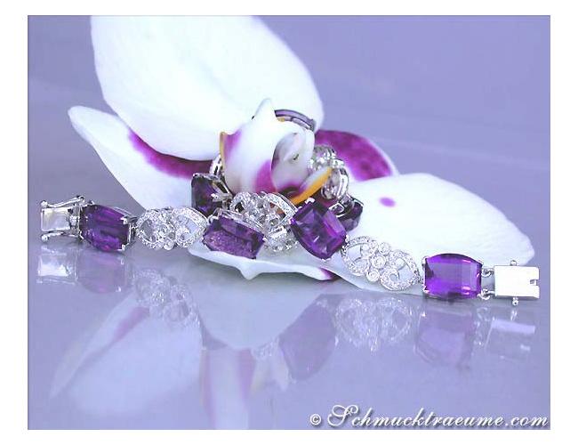 Enchanting Amethyst Diamond Bracelet