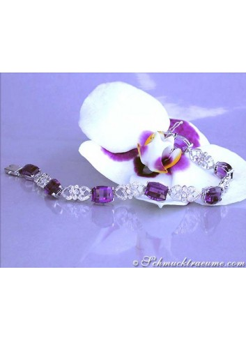 Enchanting Amethyst Diamond Bracelet