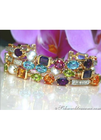 Exquisite Multicolor Diamond Pearl Bracelet