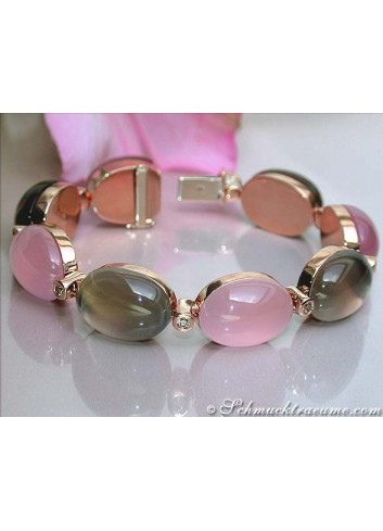 Magnificent Rose Quartz & Smoky Quartz Bracelet