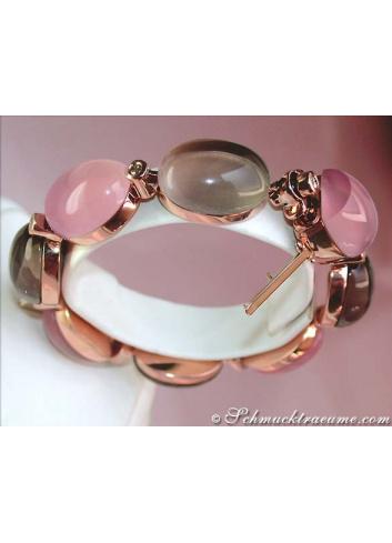Magnificent Rose Quartz & Smoky Quartz Bracelet