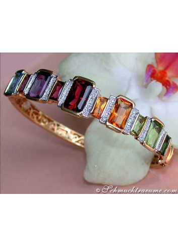 Gorgeous Multicolor Gemstone Diamond bangle