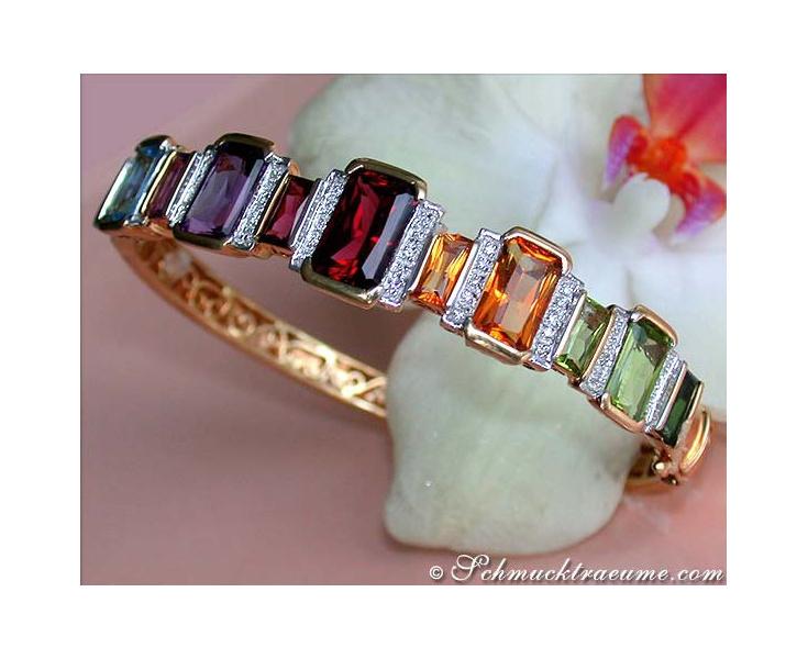 Gorgeous Multicolor Gemstone Diamond bangle