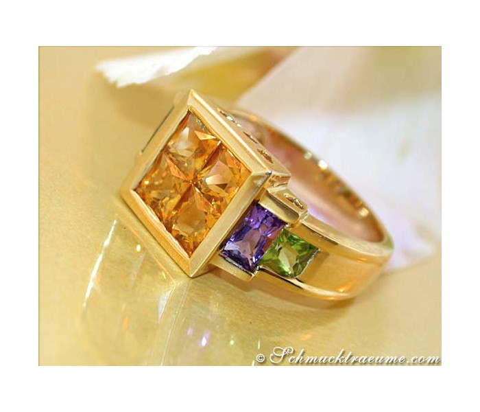 Attractive Citrine Amethyst Peridot Ring