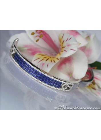 Stately Sapphire Bangle with Diamonds