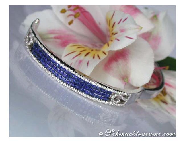 Stately Sapphire Bangle with Diamonds