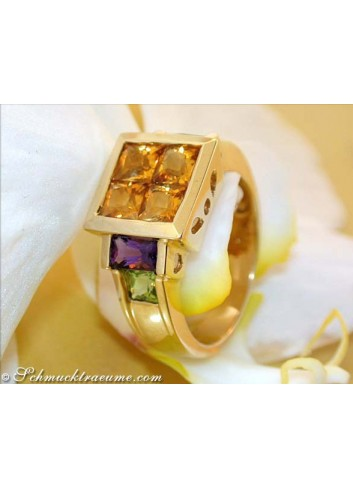 Attractive Citrine Amethyst Peridot Ring