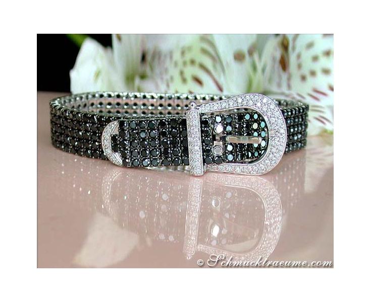 Terrific Black & White Diamond Belt Bracelet