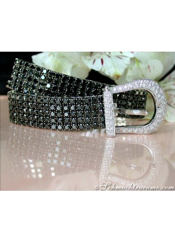 Terrific Black & White Diamond Belt Bracelet