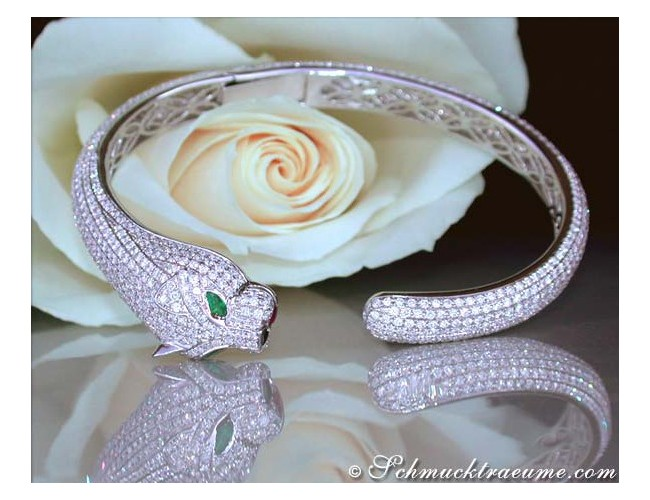 Opulent Diamond Panther Bangle