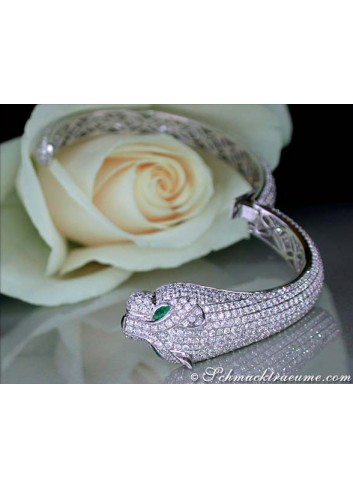 Opulent Diamond Panther Bangle