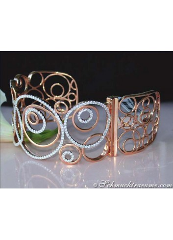 Extra wide Diamond Bangle in Rosegold