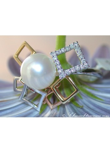 Tricolor Cultured Pearl Diamond Ring