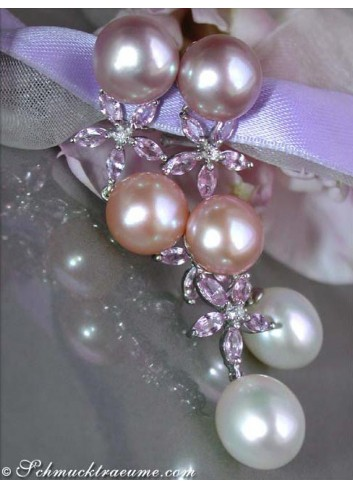 Magnificent Pastel Freshwater Pearl Earrings with Sapphires
