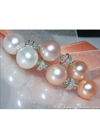 Edle Pastell Zuchtperlen Ohrgehänge mit Diamanten