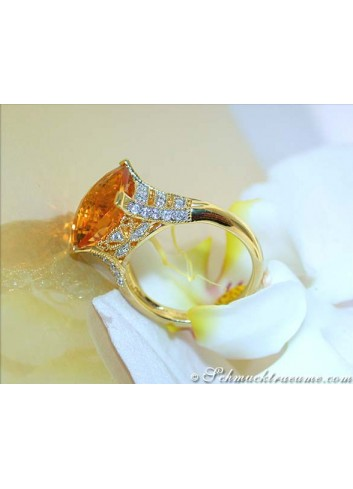 Radiant Citrine Ring with Diamonds